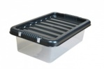 6 Litre Plastic Storage Boxes with Black Lids